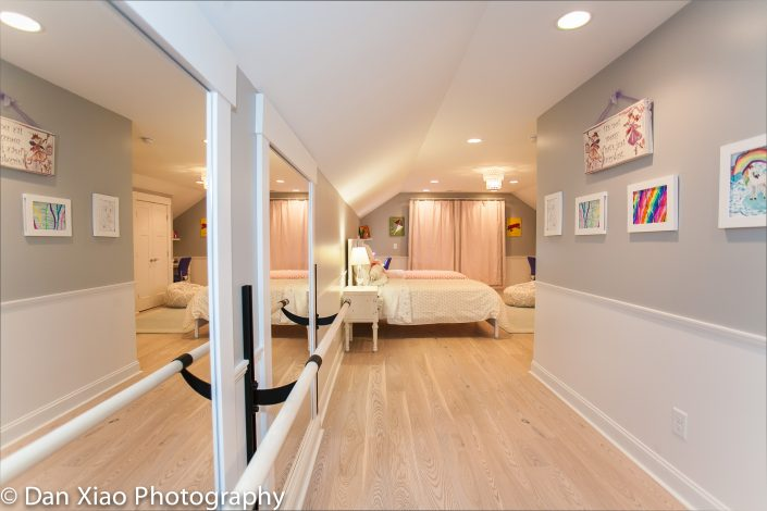 Unfinished attic space converted to children's bedroom