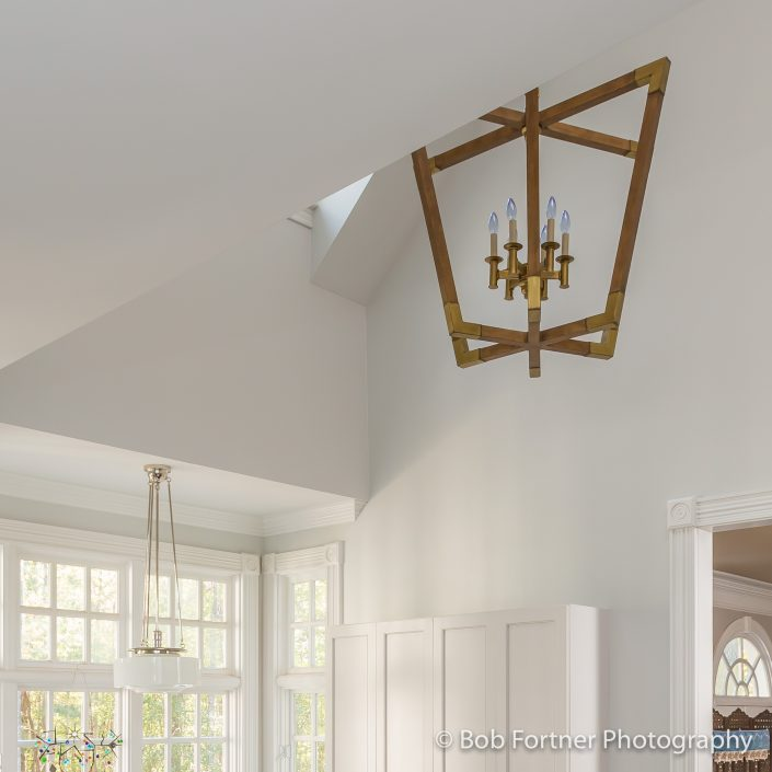 modern wood and brass large pendant